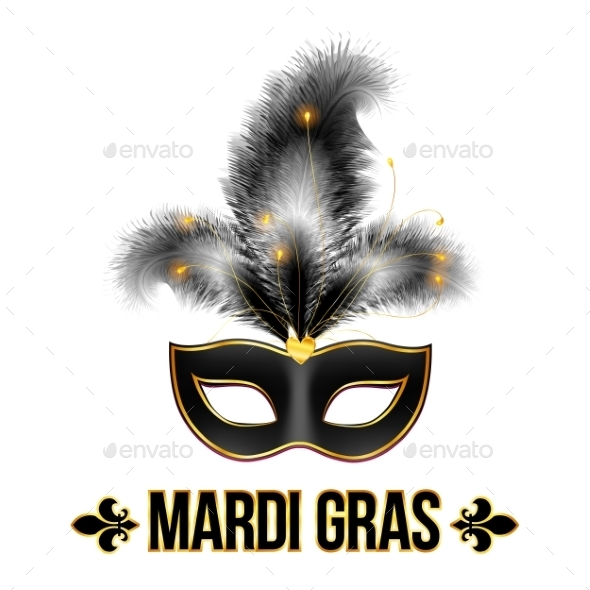 Black Mardi Gras Carnival Mask - Decorative Symbols Decorative