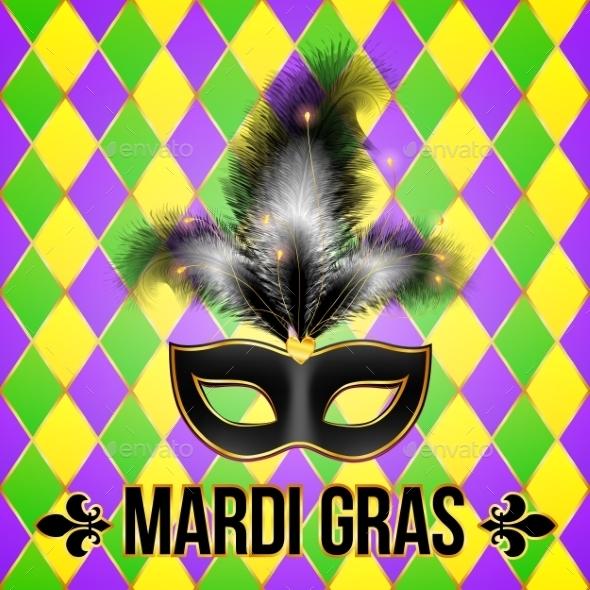 Black Mardi Gras Mask with Feathers - Decorative Symbols Decorative