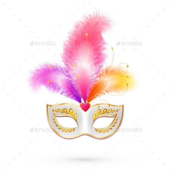 Carnival Mask with Pink Feathers - Valentines Seasons/Holidays