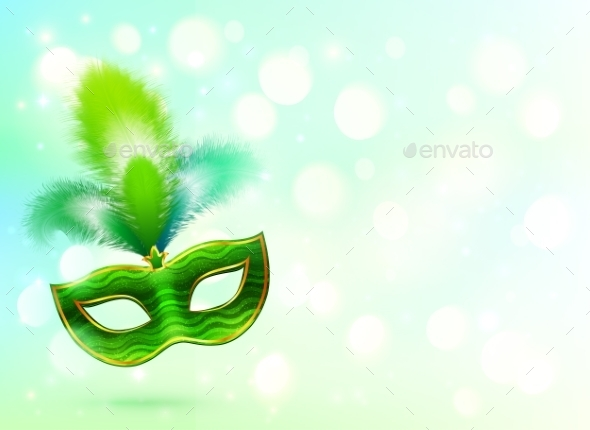 Green Carnival Mask with Feathers - Birthdays Seasons/Holidays