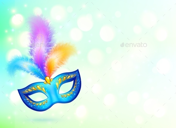 Blue Carnival Mask with Colorful Feathers - Birthdays Seasons/Holidays