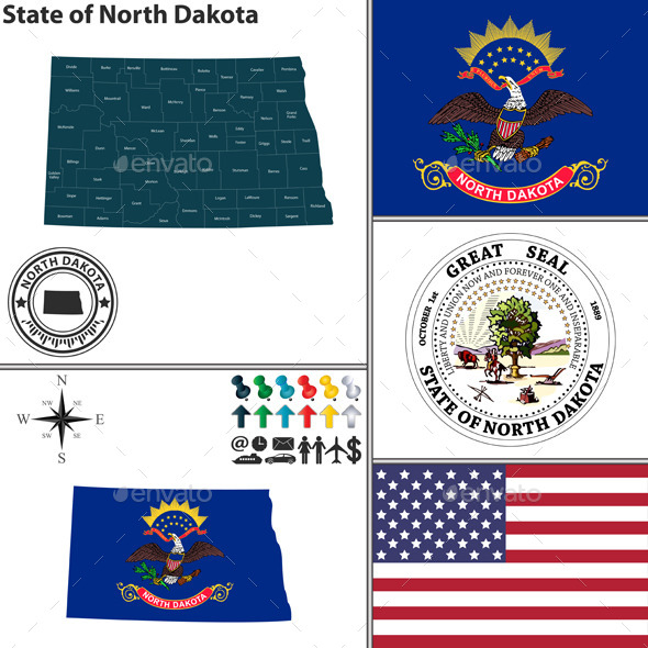 Map of State North Dakota, USA - Travel Conceptual