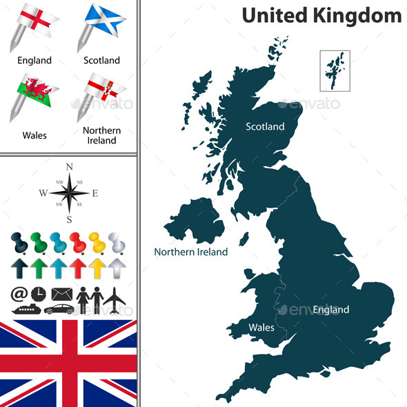 Map of United Kingdom - Travel Conceptual