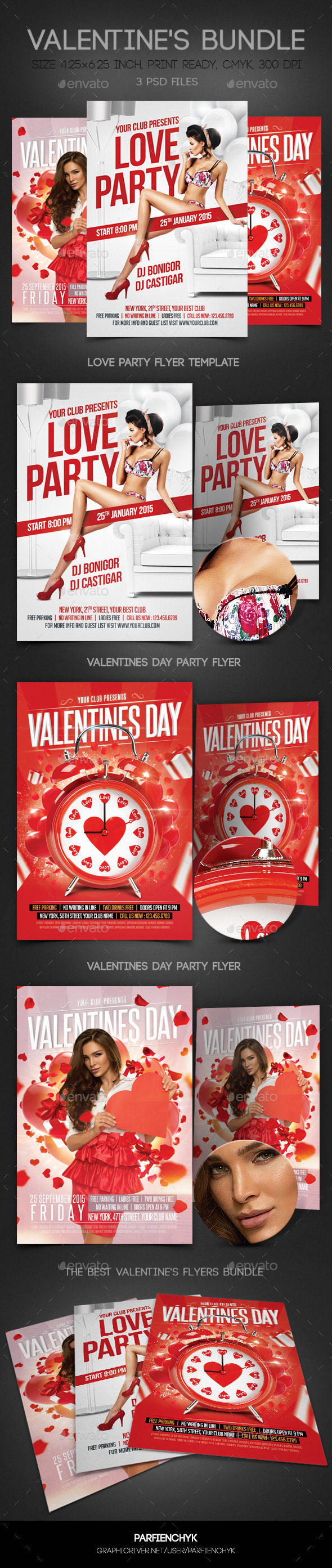 Valentines Flyers Bundle - Clubs & Parties Events