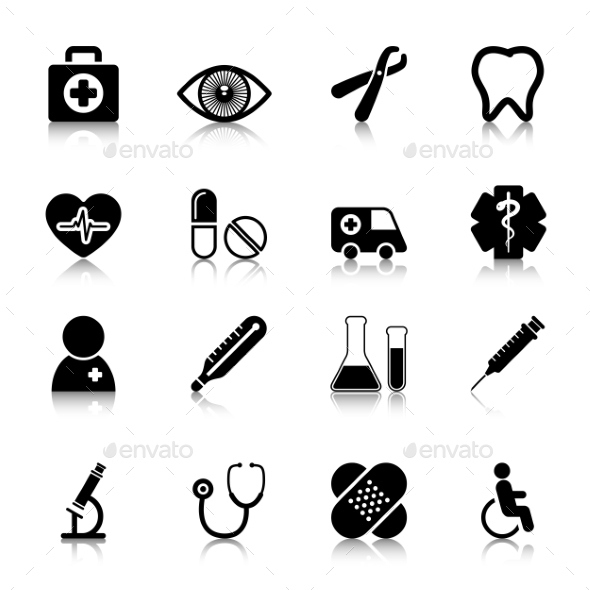 Medical Icons Set with Reflection - Icons