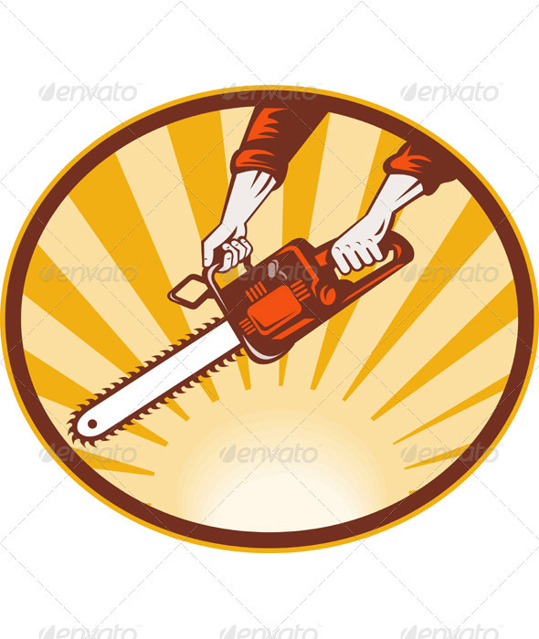 Hand Holding A Chainsaw Retro Style - Objects Vectors