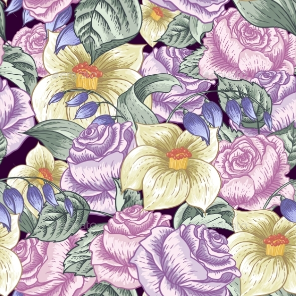 Seamless Floral Pattern with Roses - Patterns Decorative