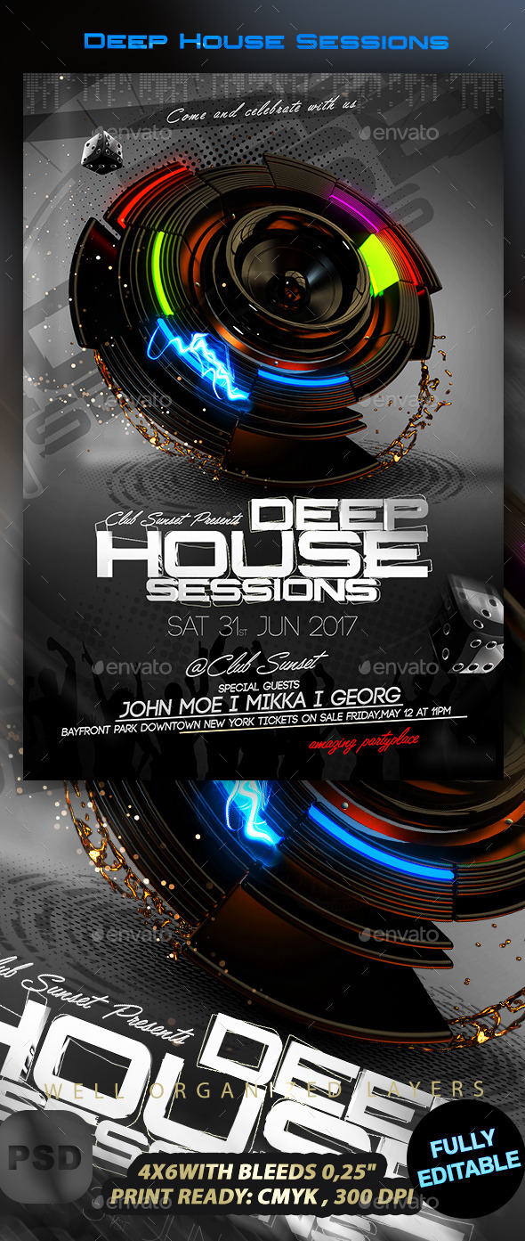 Deep House Sessions - Events Flyers