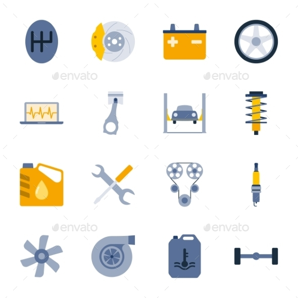 Car Service Flat Icons Set - Miscellaneous Vectors