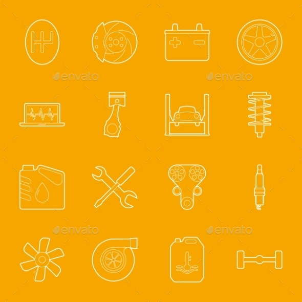 Car Service Thin Lines Icons Set - Miscellaneous Vectors