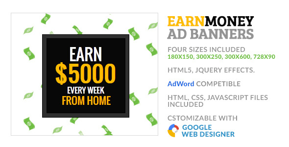 Earn Money Freelancer GWD HTML5 Ad Banner - CodeCanyon Item for Sale