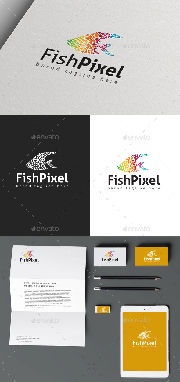 Fish Pixel - Animals Logo Templates