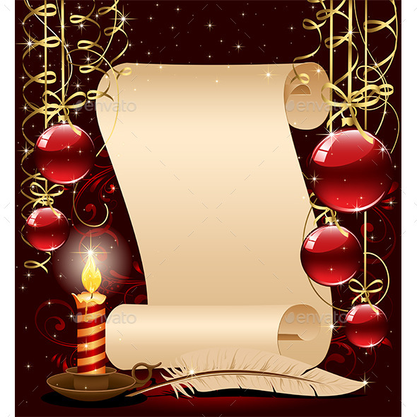 Christmas Background with Candle - Christmas Seasons/Holidays