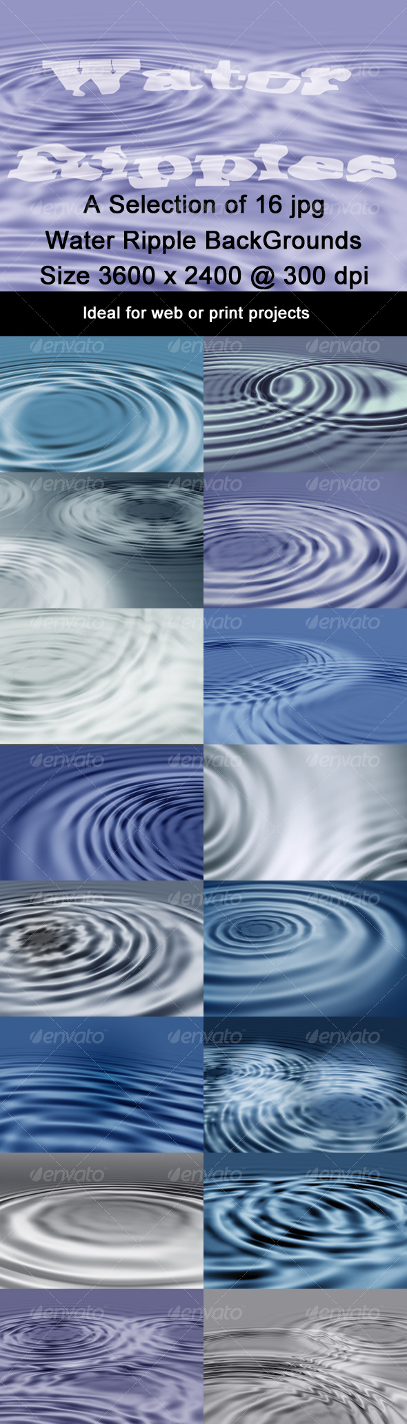 Water Ripples Background Pack - Backgrounds Graphics