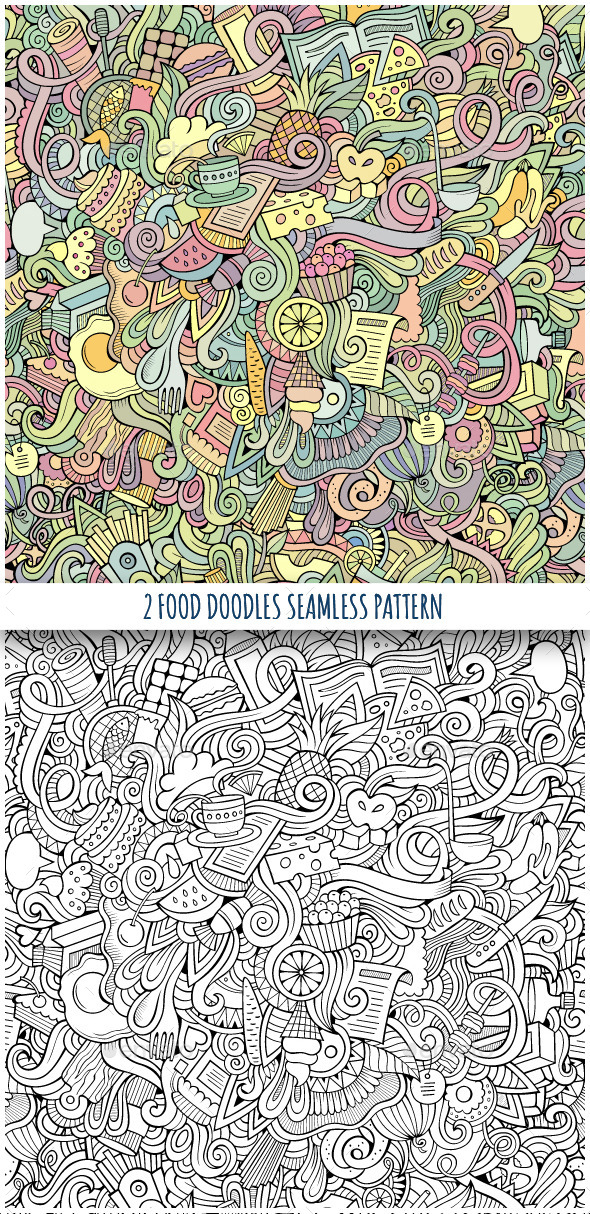 2 Food Doodles Seamless Pattern - Food Objects