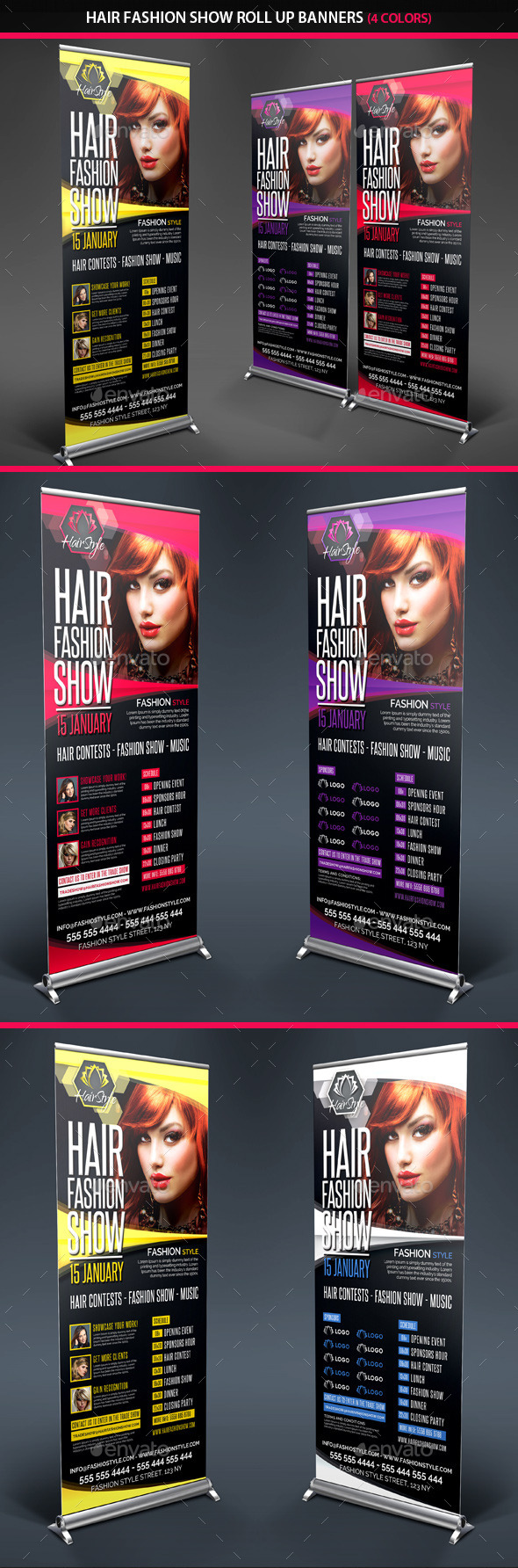 Hair Fashion Show Promotion Roll Up Banners - Signage Print Templates