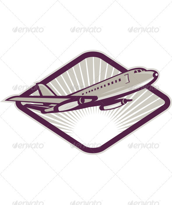 Jumbo Jet Plane Taking Off Retro Style - Objects Vectors