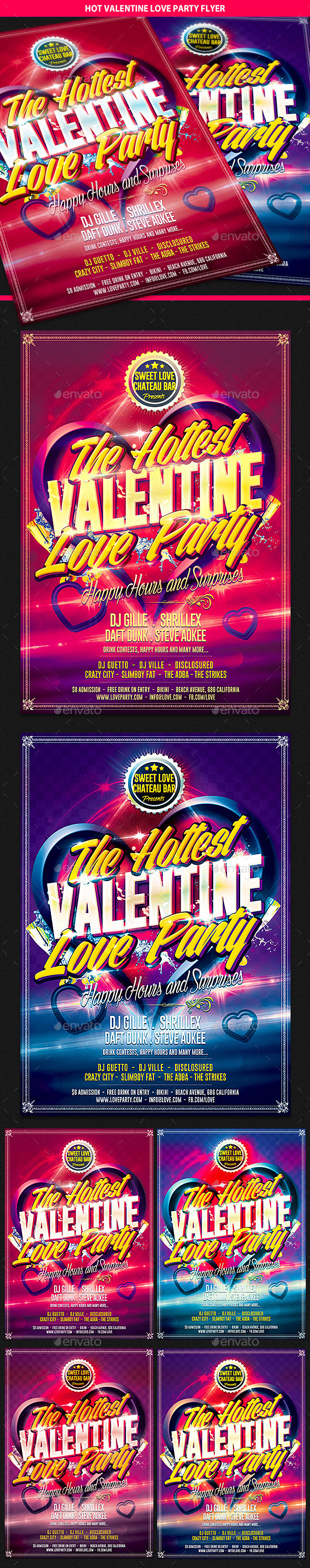 Hot Valentine Love Party Flyer - Clubs & Parties Events