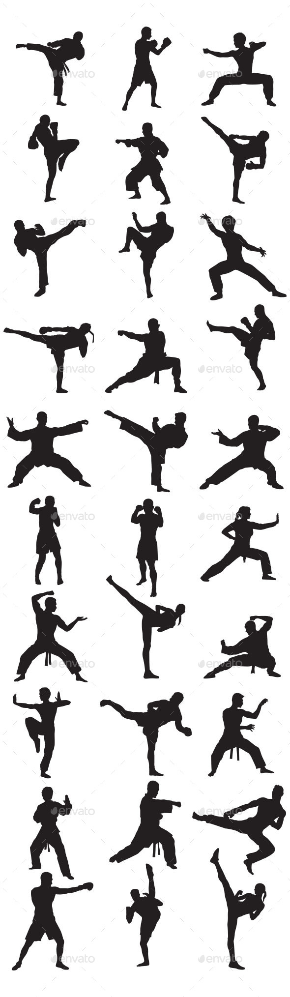Martial Art Silhouettes - Sports/Activity Conceptual