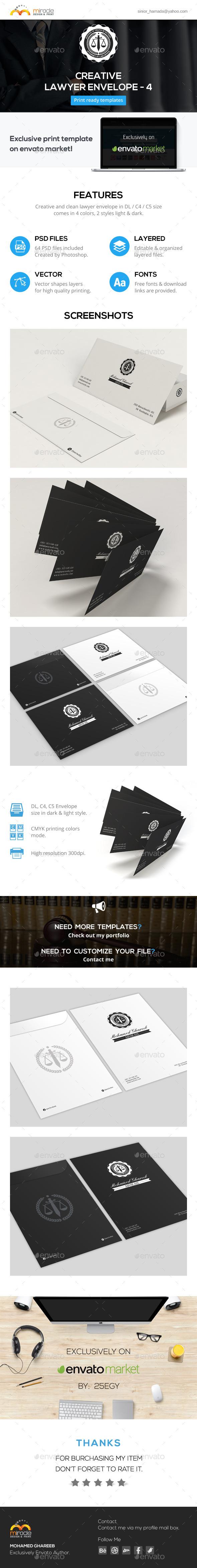 Creative Lawyer Envelope #4 - Stationery Print Templates