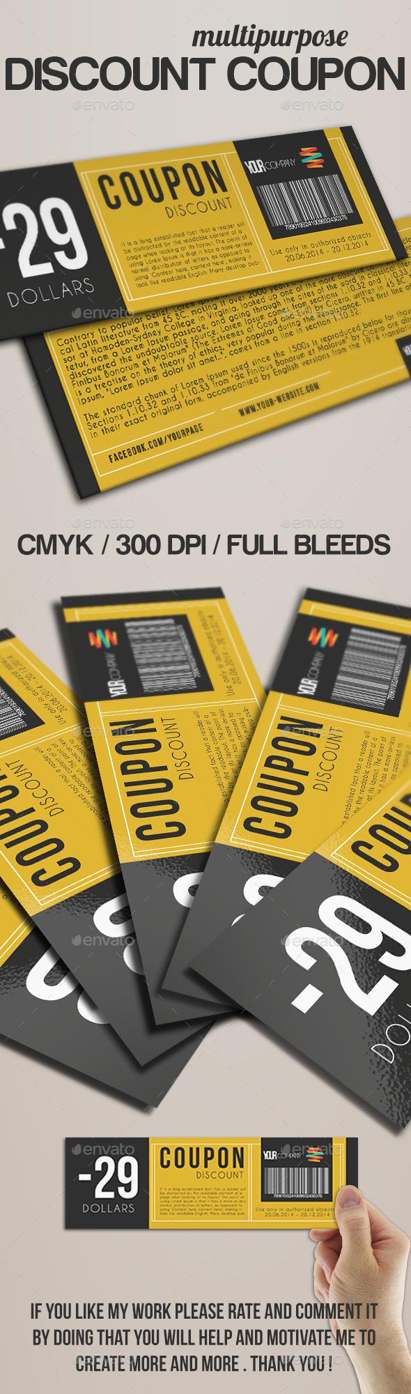 Elegant Discount Coupon - Cards & Invites Print Templates
