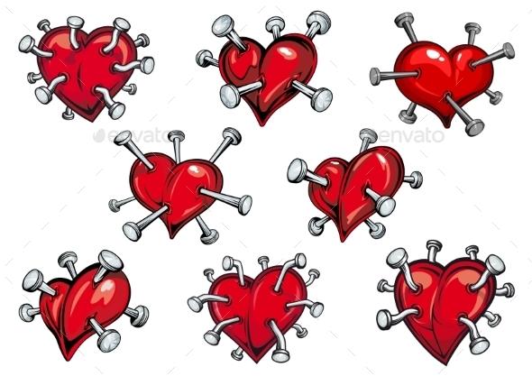 Hearts with Nails - Tattoos Vectors