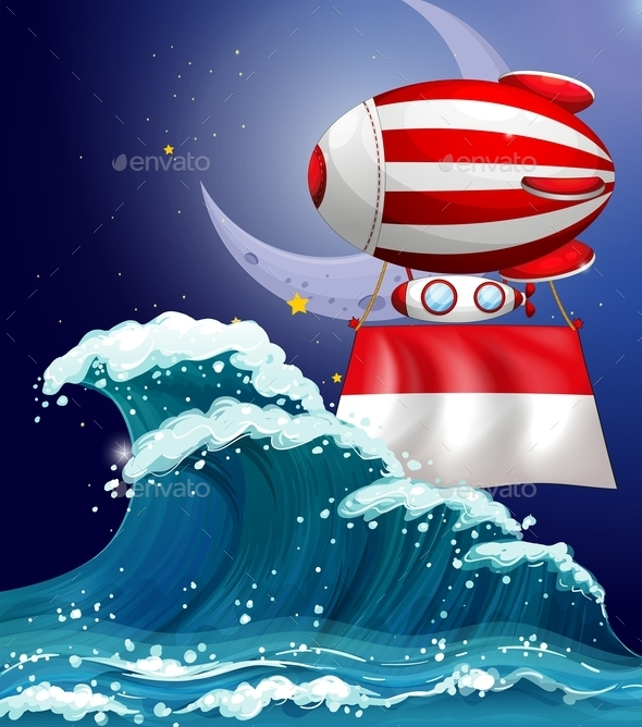 Floating Balloon with the Flag of Monaco - Man-made Objects Objects