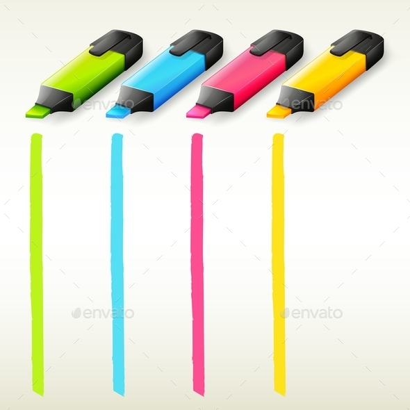 Colorful Highlighters - Man-made Objects Objects
