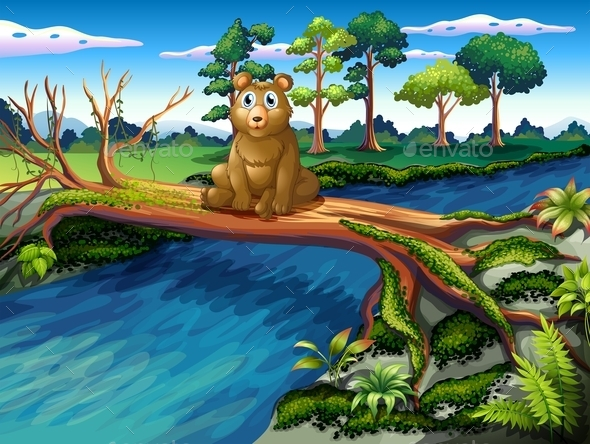 Bear Sitting on a Wooden Bridge - Animals Characters