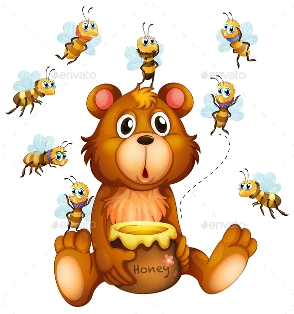 Bear and Bees - Animals Characters