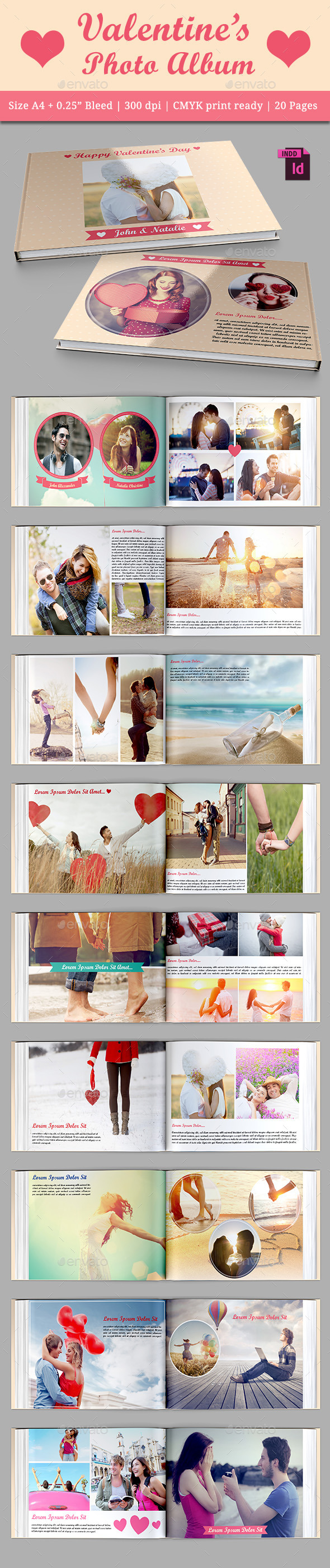 Valentine's Photo Album - Photo Albums Print Templates