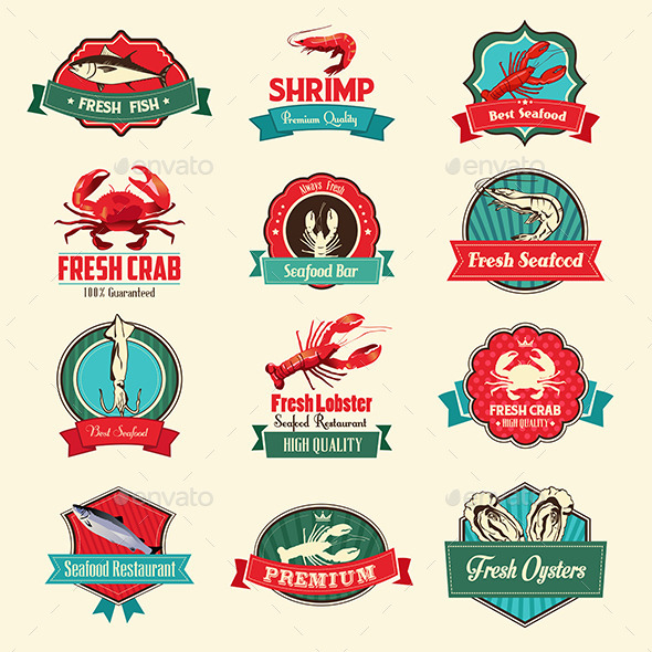 Seafood Labels - Food Objects