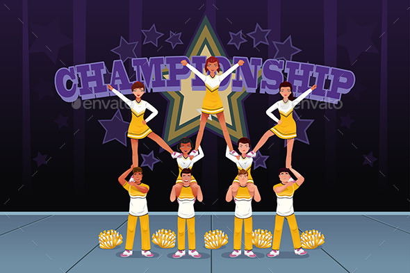 Cheerleaders in a Cheerleading Competition - Sports/Activity Conceptual