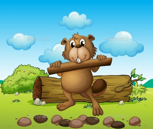 beaver with a Piece of Wood - Animals Characters