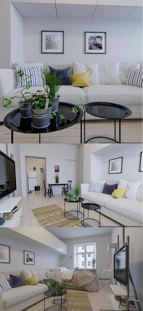 Scandinavian Interior Realistic Render - 3DOcean Item for Sale