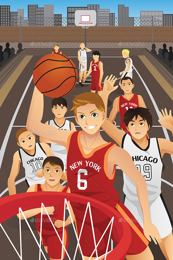 Young Men Playing Basketball - Sports/Activity Conceptual