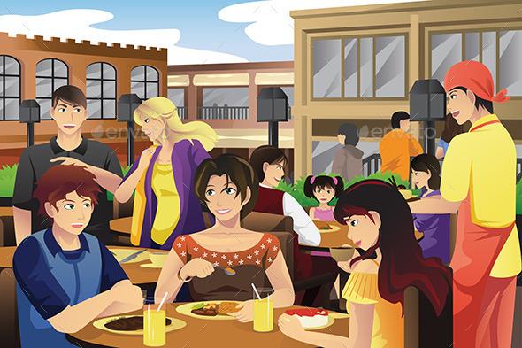 People Eating in an Outdoor Restaurant - People Characters