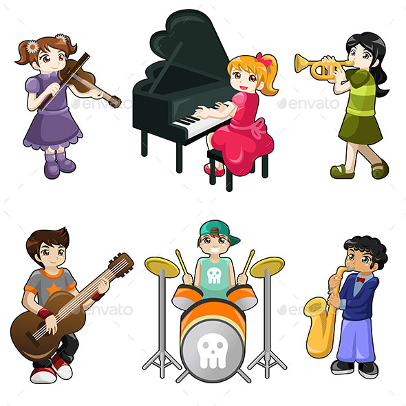 Different Kids Playing Musical Instruments - Sports/Activity Conceptual