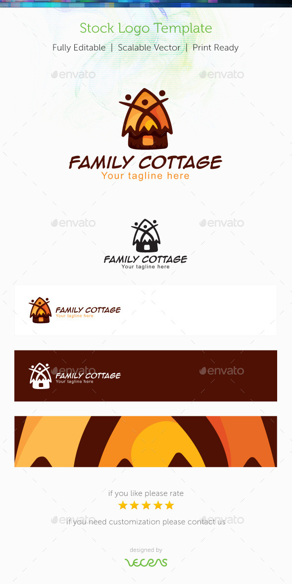 Family Cottage Stock Logo Template - Buildings Logo Templates