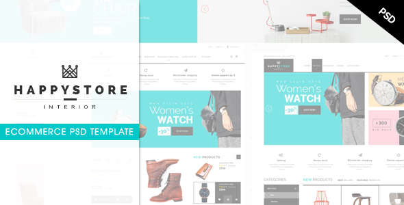HappyStore - Ecommerce PSD Template - Shopping Retail