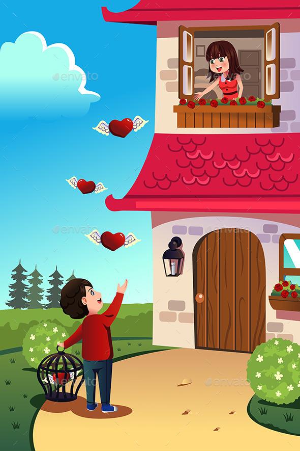 Man Sending Love to his Girlfriend - Valentines Seasons/Holidays