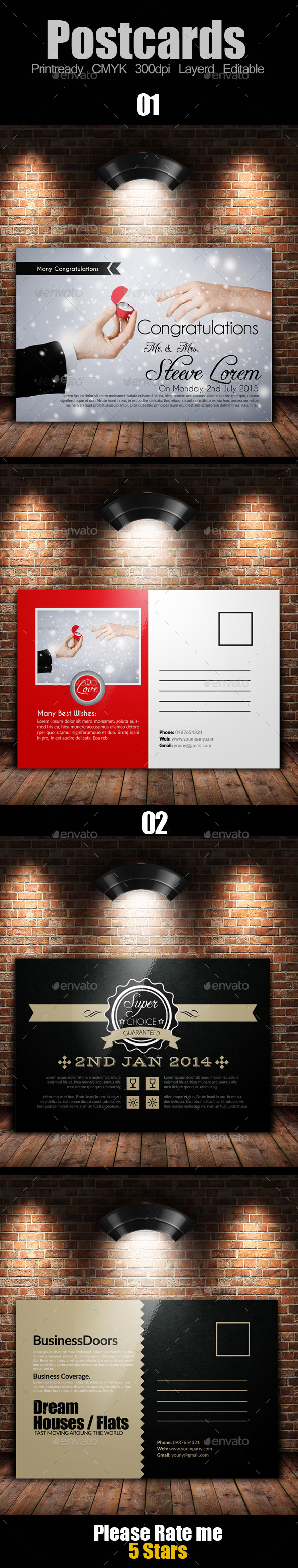 Multi Use Business Post Cards Bundle - Cards & Invites Print Templates