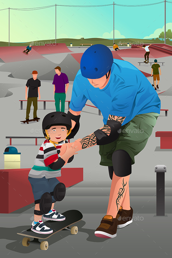 Father Teaching Son Skateboarding - Sports/Activity Conceptual
