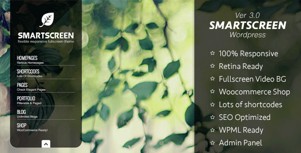 SmartScreen fullscreen responsive WordPress theme - Photography Creative