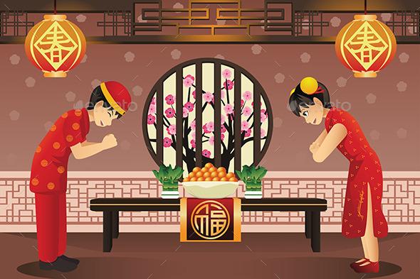 Chinese Kids Celebrating Chinese New Years - New Year Seasons/Holidays