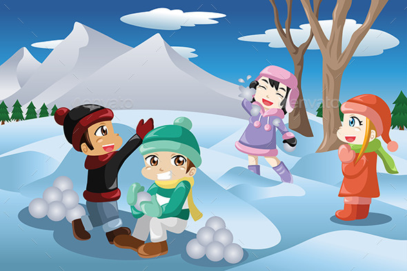 Kids Playing with Snow - Seasons/Holidays Conceptual