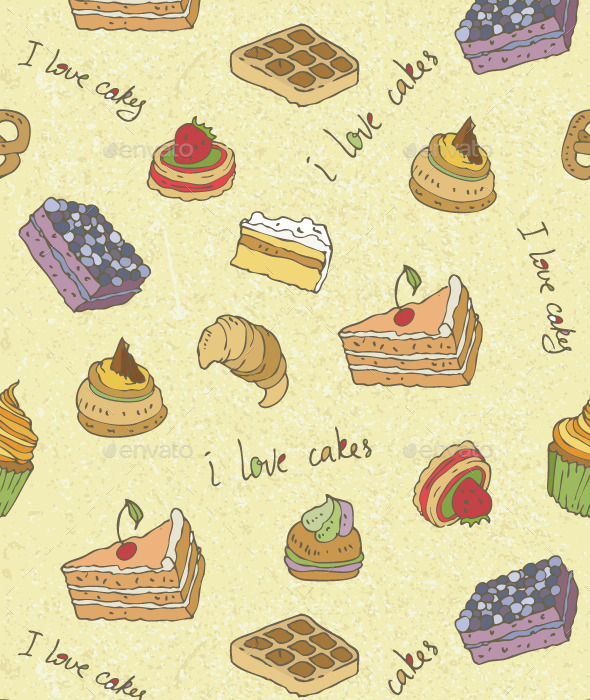 Cakes Pattern - Food Objects