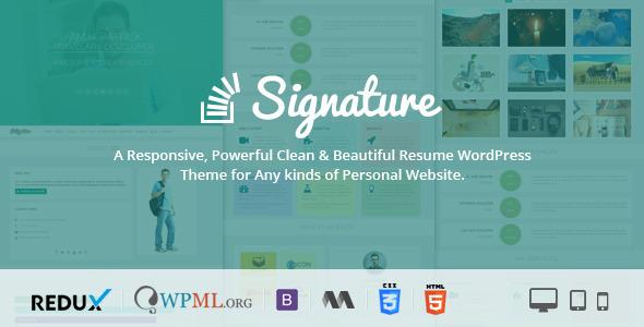 Signature – Responsive CV / Resume WordPress Theme
