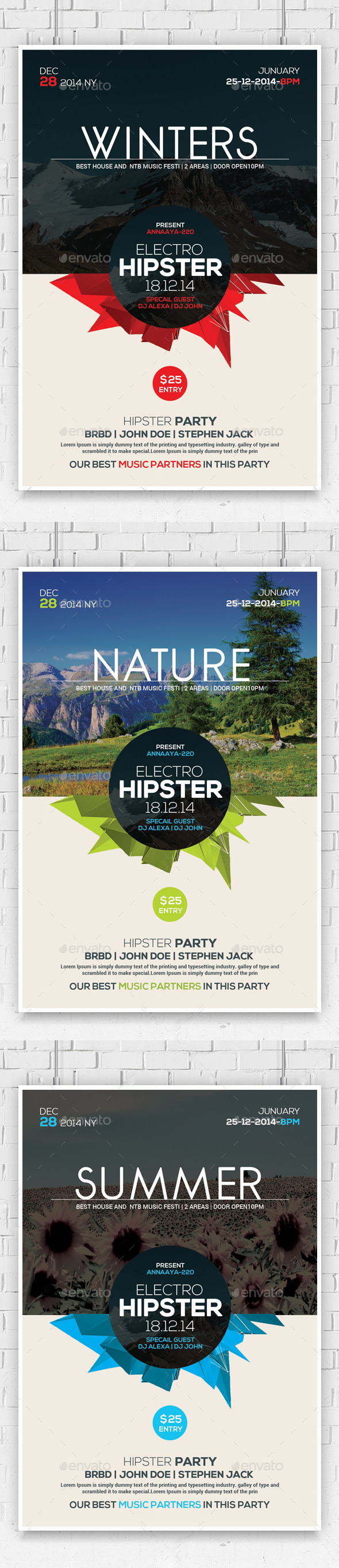 Hipster Party Flyer Template - Clubs & Parties Events