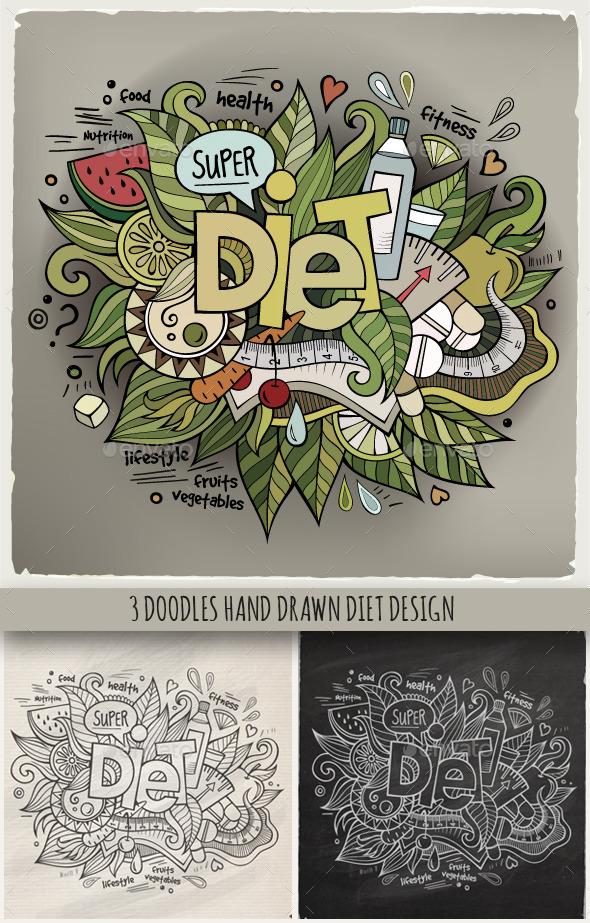 3 Diet Doodles Designs - Health/Medicine Conceptual